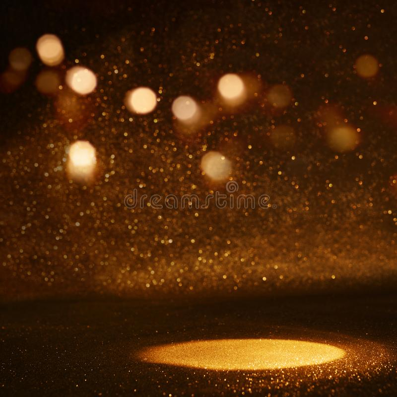 Golden bokeh background with light spot. For a presentation royalty free stock images