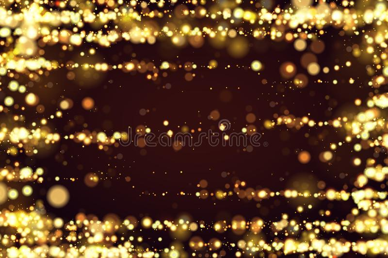 Golden bokeh sparkle glitter lights luxury background. Abstract defocused circular party magic christmas background. Elegant, shiny, metallic gold background stock illustration