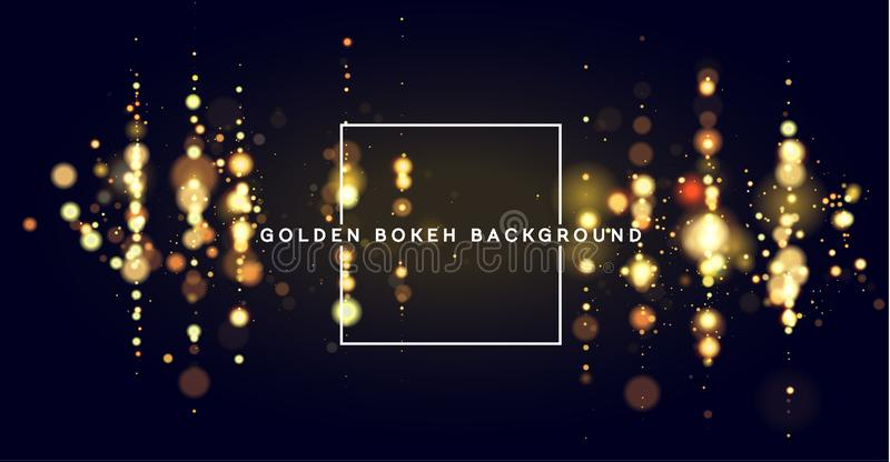 Golden bokeh sparkle glitter lights luxury background. Abstract defocused circular party magic christmas background. Elegant, shiny, metallic gold background royalty free illustration