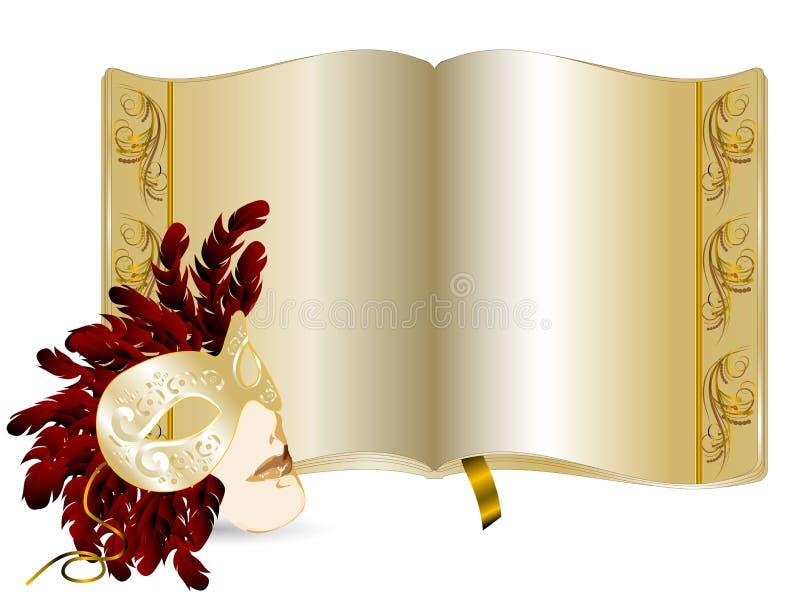 Golden book. Elegant golden book and face mask vector illustration