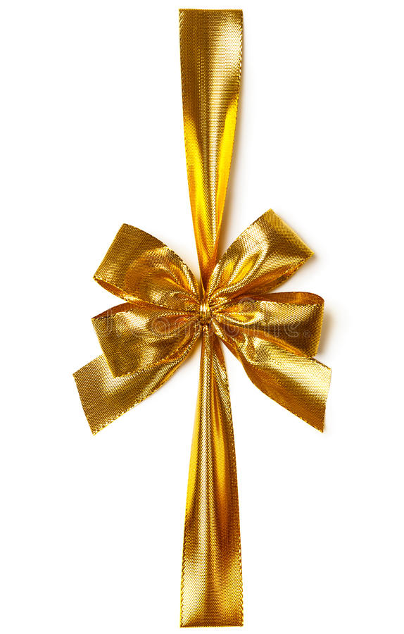 Golden bow. Golden ribbon with bow on white background. Top view stock images