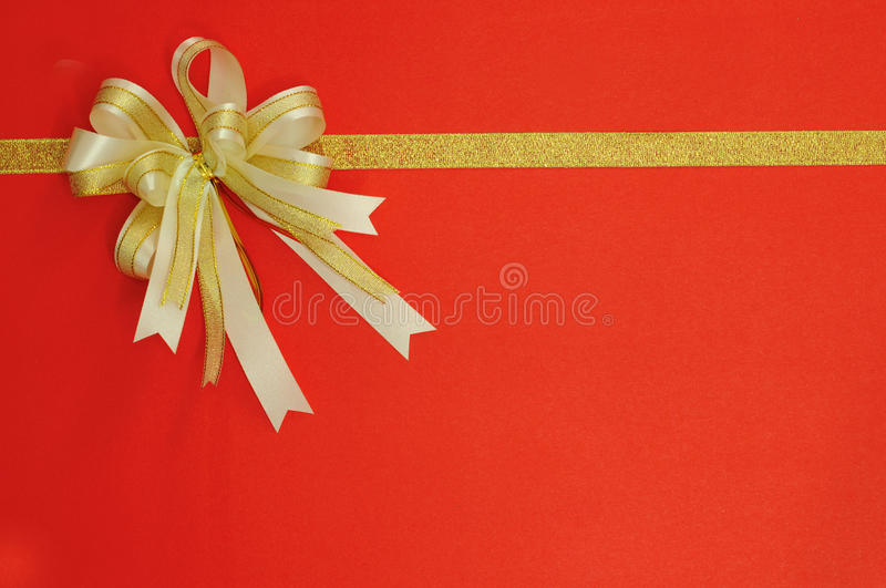 Download Golden Bow And Ribbon On Red Stock Photo - Image: 35513958