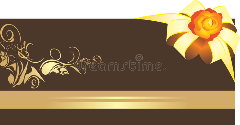 Golden bow with rose on the decorative border vector illustration