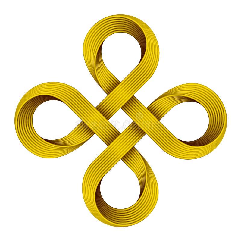 Golden Bowen cross symbol. Vector illustration. Bowen cross symbol made of golden strip. Vector illustration isolated on white background stock illustration