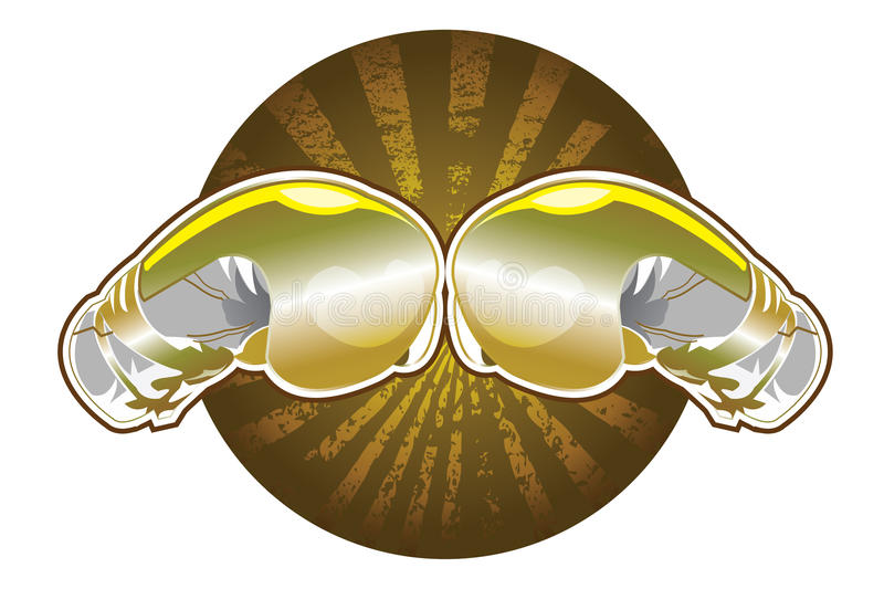 Golden boxing gloves. This is Golden boxing gloves vector for advertising,logo and presentation royalty free illustration