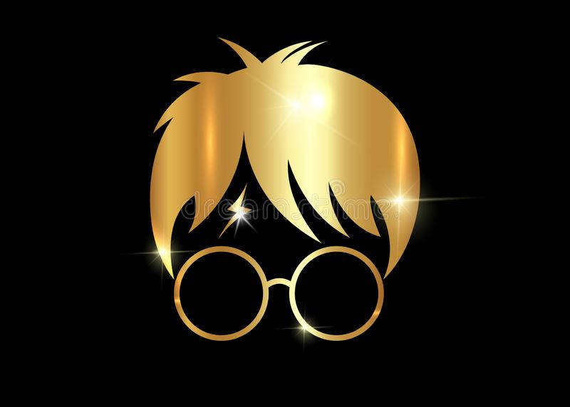 Golden Boy with round glasses cartoon icon, Potter minimal style, isolated. Gold Boy with round glasses cartoon icon, minimal portrait isolated or black royalty free illustration