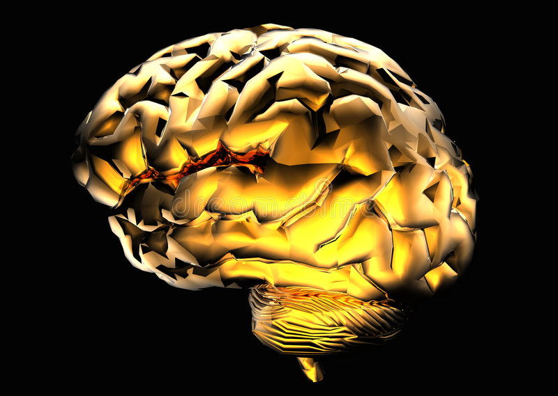 Golden Brain vector illustration
