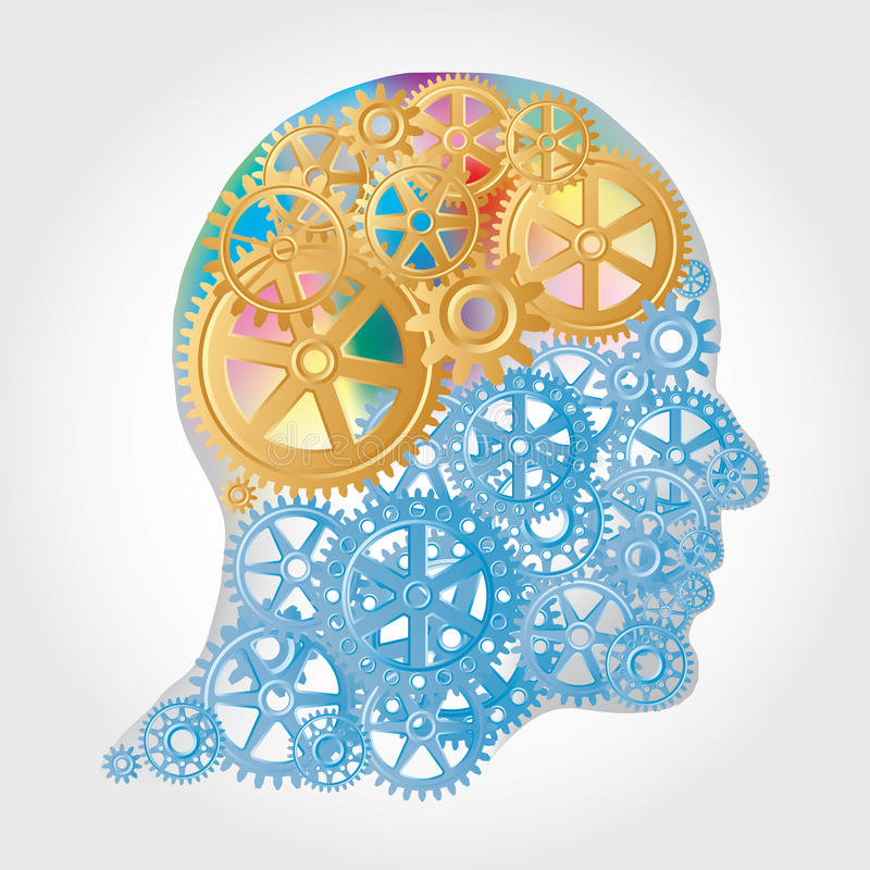 Golden brain. Vector human profile with golden gears brain vector illustration