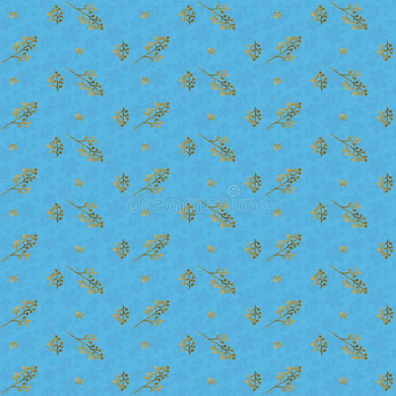 Golden branches on  a blue floral  background, seamless  Christmas  pattern royalty free illustration