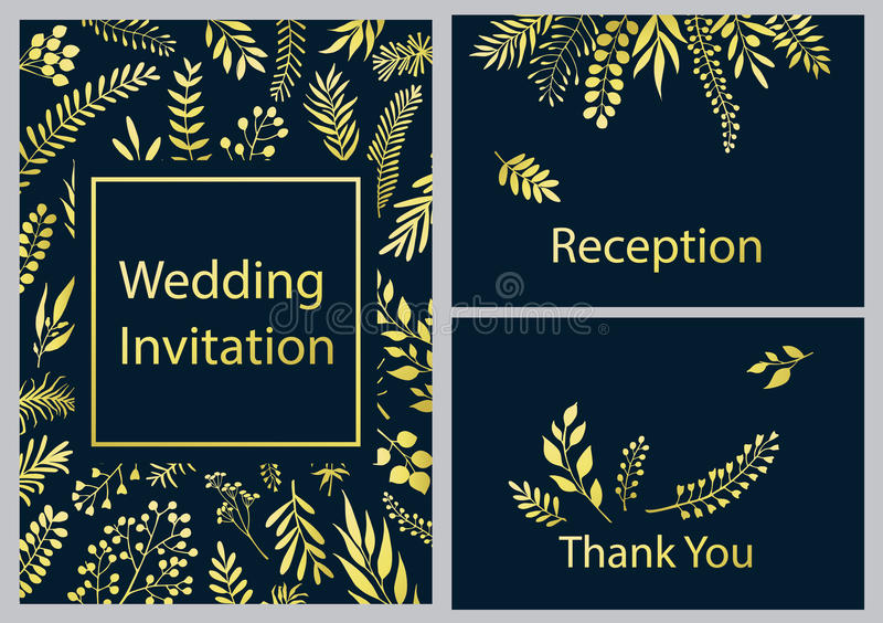Golden branches and twigs wedding invitation card stock illustration