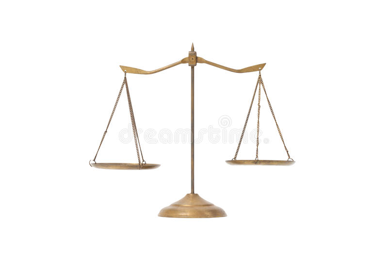 Golden brass scales of justice on the white royalty free stock photos