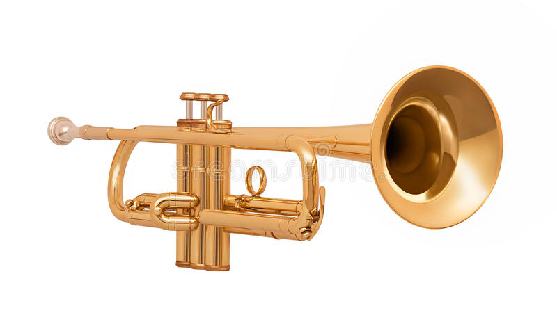 Golden brass trumpet in soft light isolated on white. Background royalty free illustration