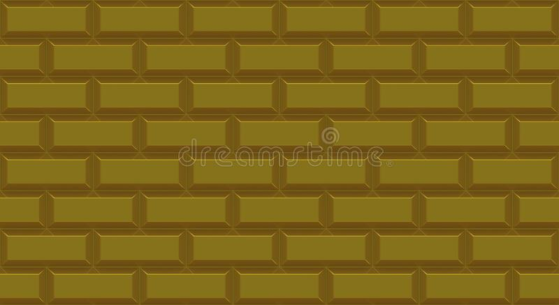 Golden brick wall rectangles with chamfered edge. Empty background. Vintage stonewall. Room design interior. royalty free illustration