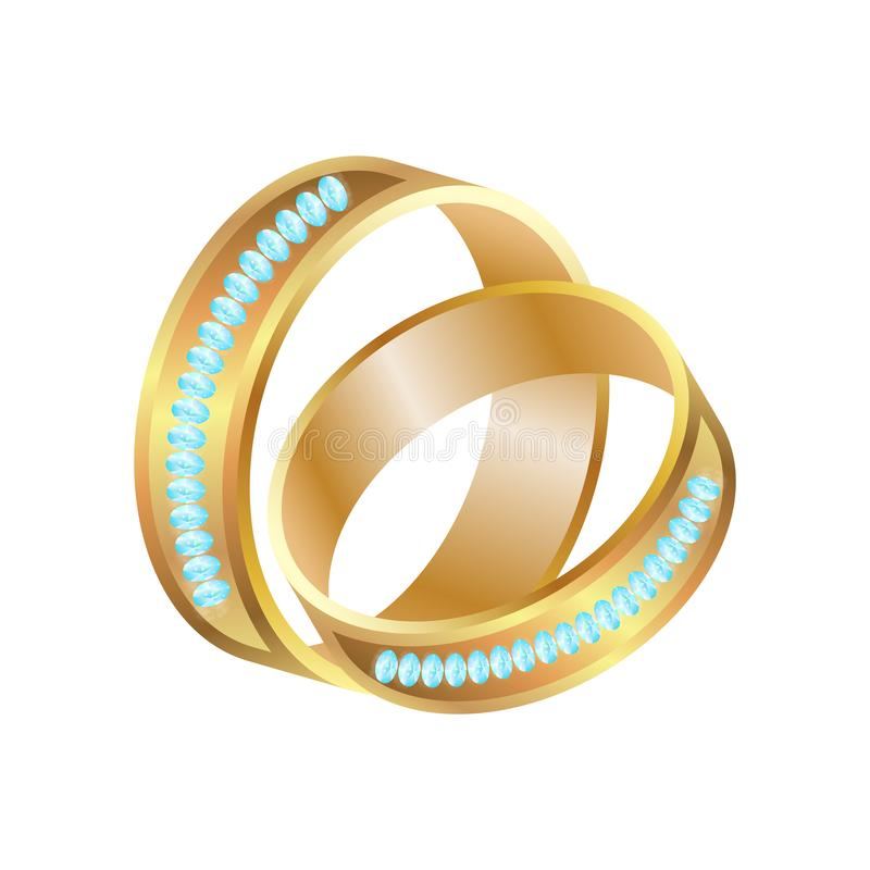 Golden Bride And Groom Wedding Rings With Diamonds, vector illustration vector illustration