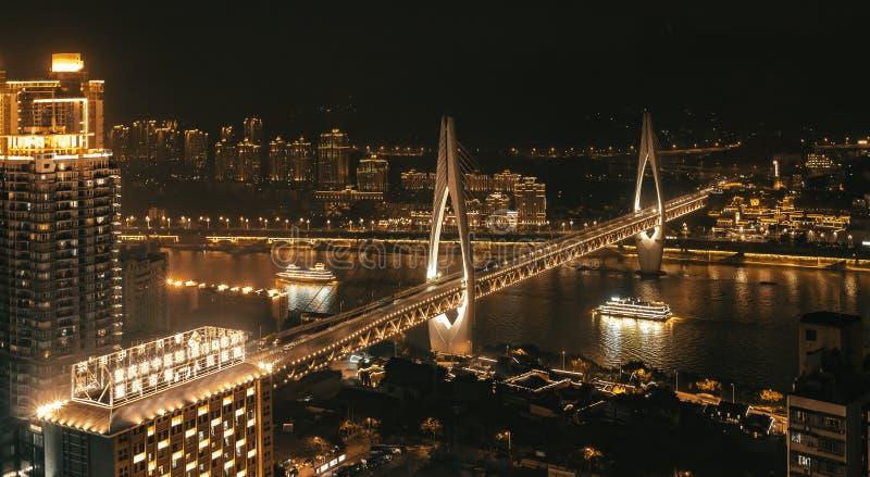 Golden Bridge, Beautiful Nightscape royalty free stock photo