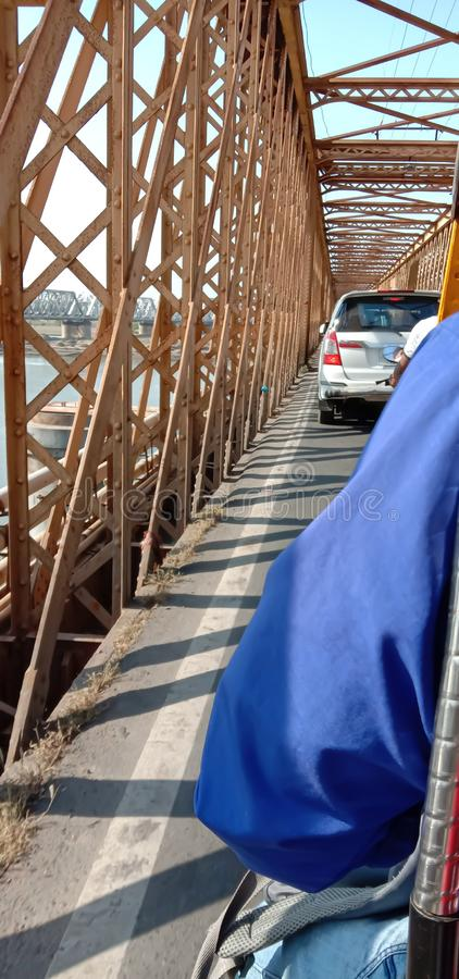 Golden bridge at bharuch city in gujrat state in india royalty free stock image