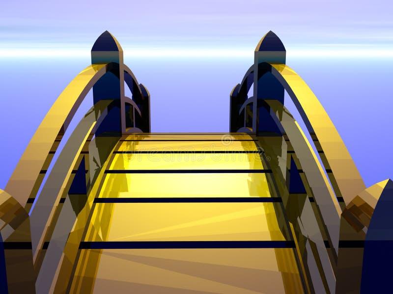 Golden bridge heading to future vector illustration