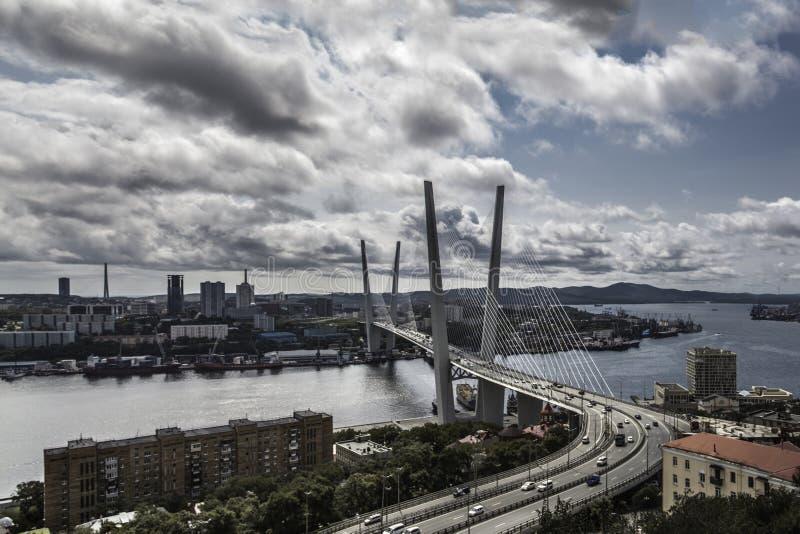 Golden bridge of Vladivostok. Vansu bridge. architecture. sky. landscape. panorama. clouds. City. At home. Concrete jungle. Stunning views of the horizon, from stock photos