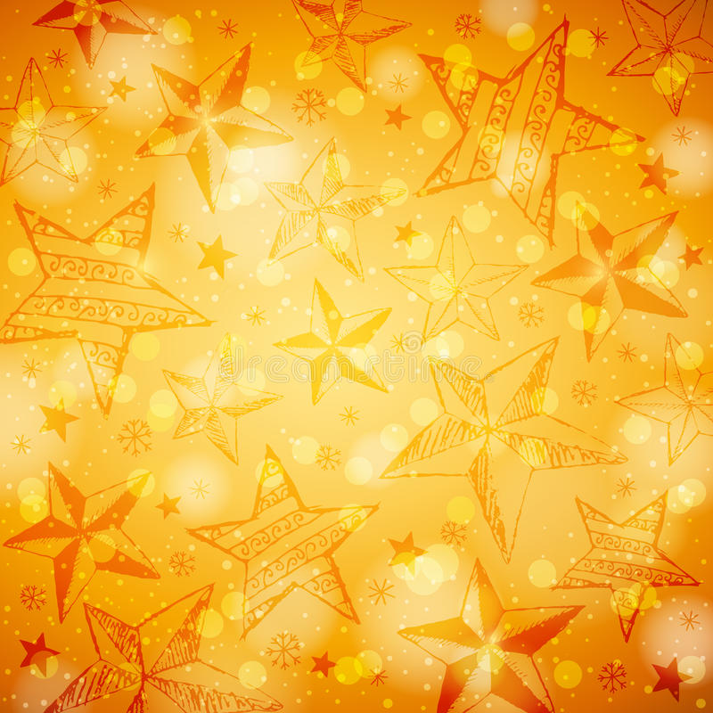 Free Golden Brightness Background With Christmas Stars Royalty Free Stock Images - 34600469