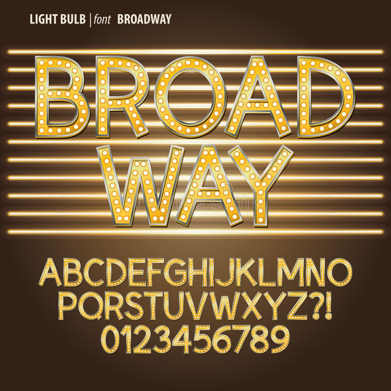 Free Golden Broadway Light Bulb Alphabet And Digit Vect Royalty Free Stock Photo - 37067975