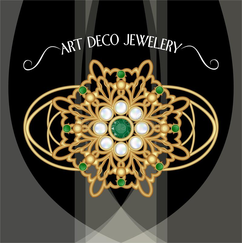 Golden brooch, art deco jewelery. Filigree jewel in retro style. Brooch with pearls and emeralds. Filigree victorian jewellery. Vector EPS10 vector illustration