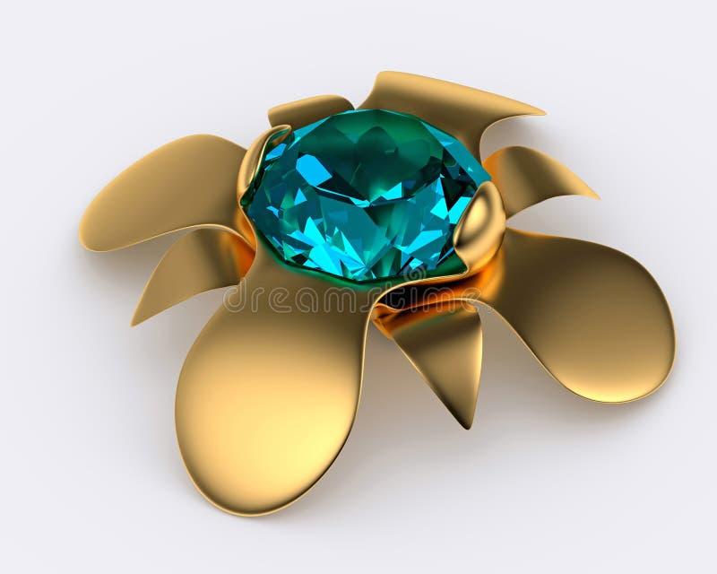 Golden brooch with diamond stock illustration