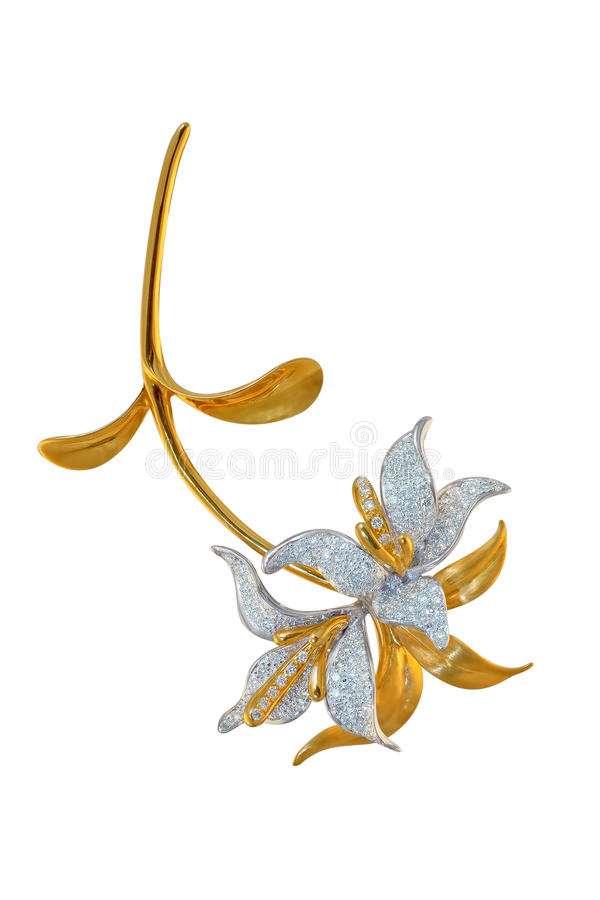 Golden brooch with diamonds stock photography
