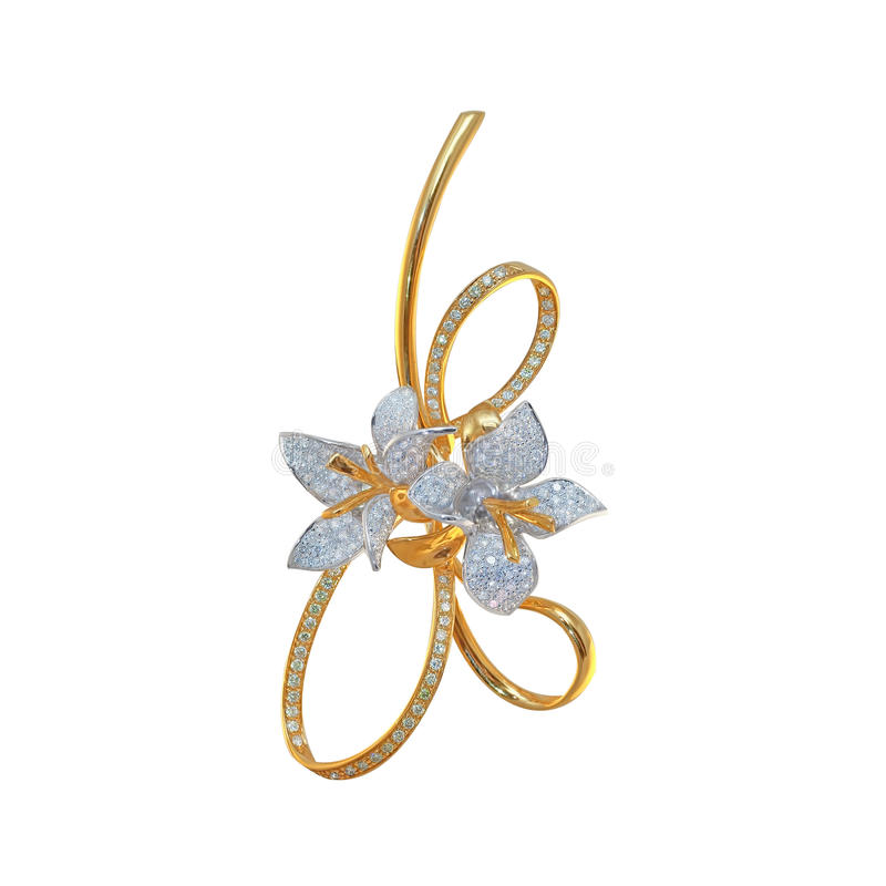 Golden brooch with diamonds royalty free stock photo