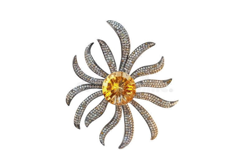 Golden brooch with onyx and diamonds royalty free stock photography