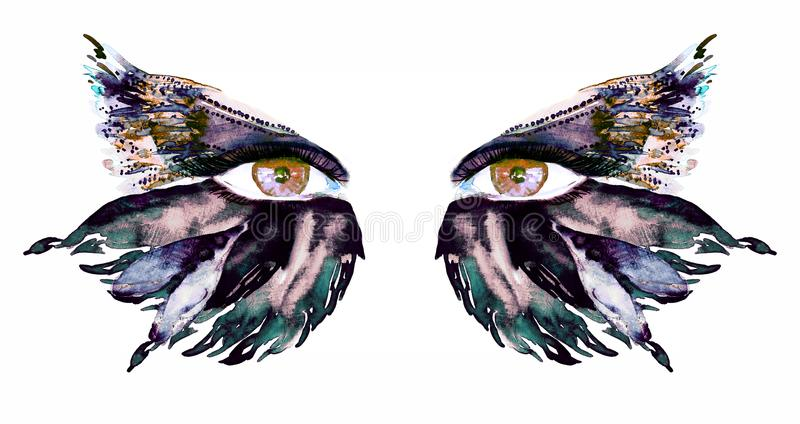 Golden brown fairy eyes with makeup, dark green, blue and sepia wings of butterfly shape eyeshadows vector illustration