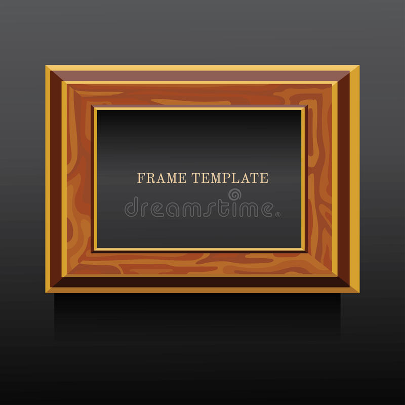 Golden and brown wooden classic frame on dark background stock illustration