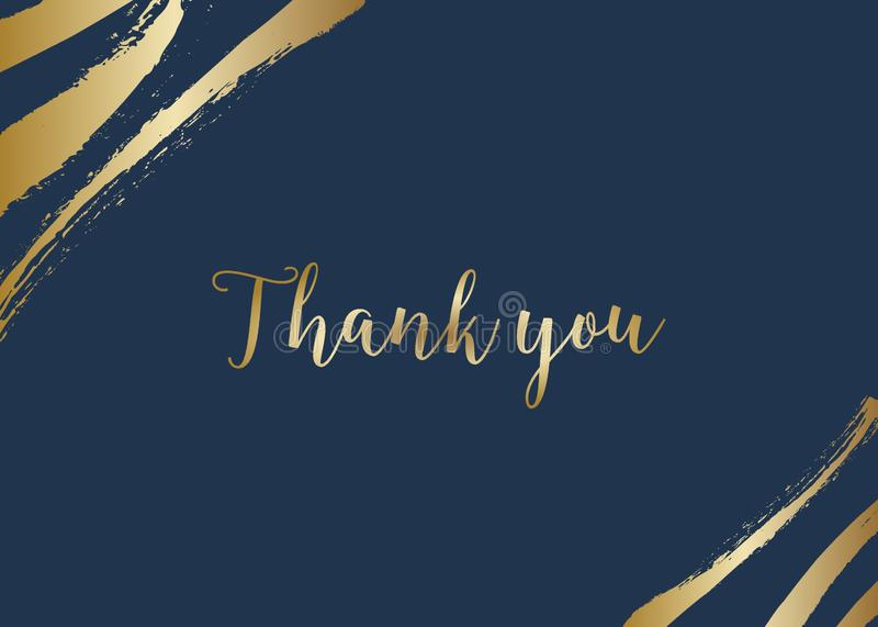 Golden Brush Strokes Thank You Card Template royalty free illustration