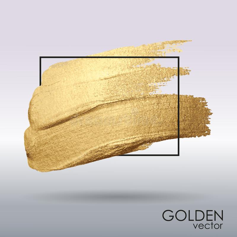 Smear with an artistic brush. Gold grunge texture in a frame. A brilliant festive pattern. stock illustration