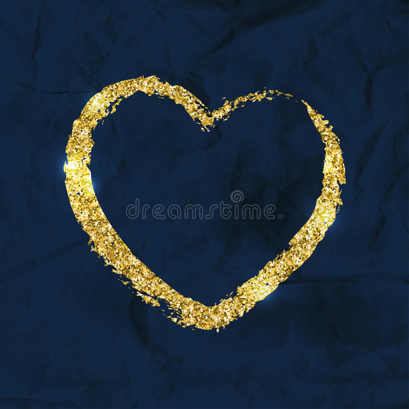 Golden brushstroke shape of heart. Glitter shiny texture. Vector. Template for greeting cards, posters, invitations vector illustration
