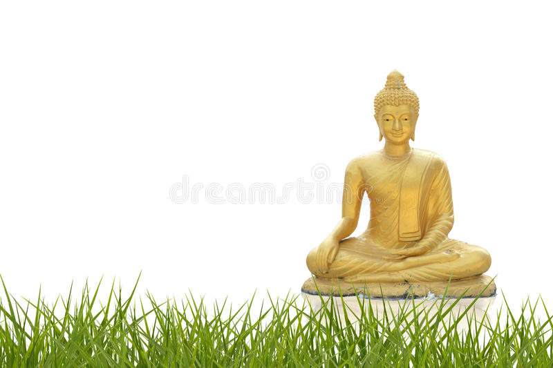 Golden buddha. With abstract background stock photography