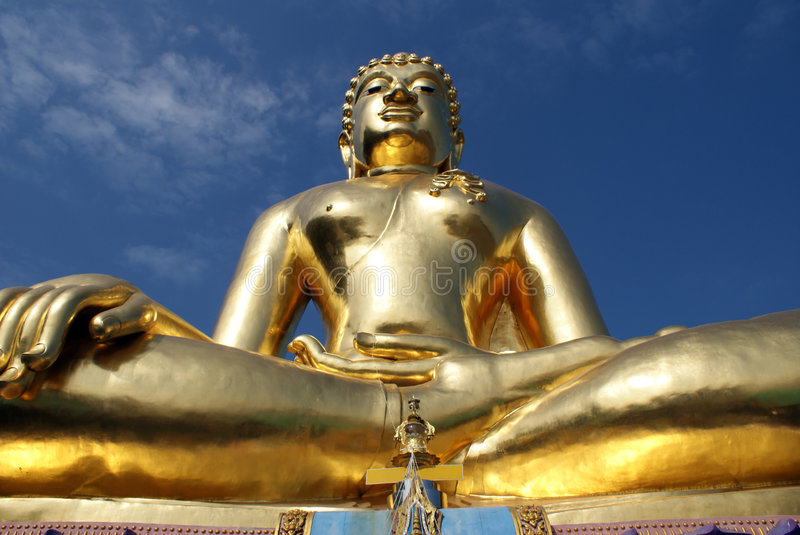 Golden Buddha. With blue sky was shot at Golden Triangle, Thailand stock photo