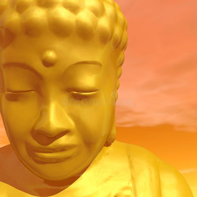 Golden buddha - 3D render stock illustration