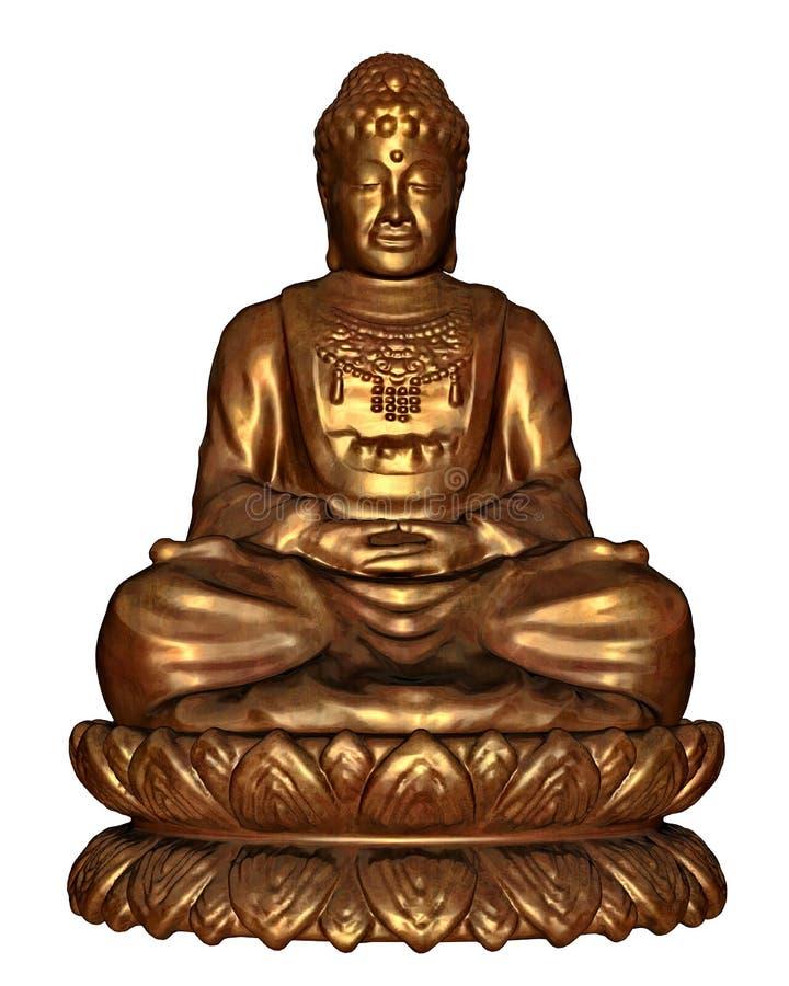 Golden buddha - 3D render vector illustration
