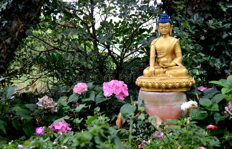 Golden Buddha in the garden royalty free stock images