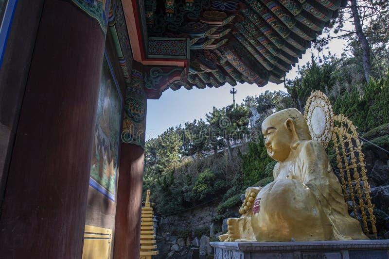 Golden Buddha of the Haedong Yonggungsa buddhist monastery in Busan, South Korea. Asia royalty free stock photography