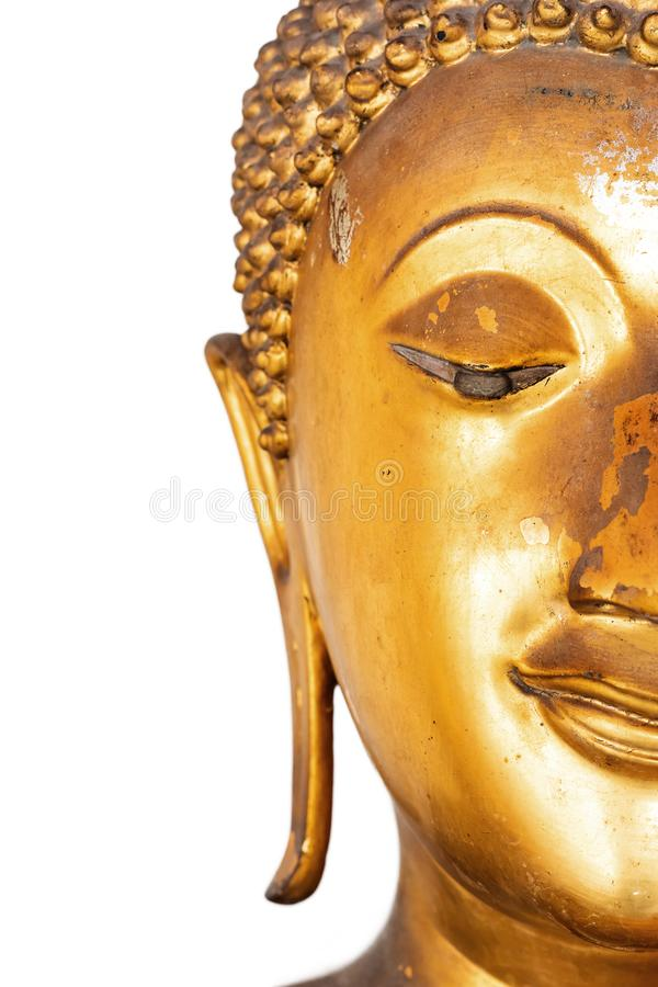 Golden buddha head isolated on White background . Asian culture royalty free stock image