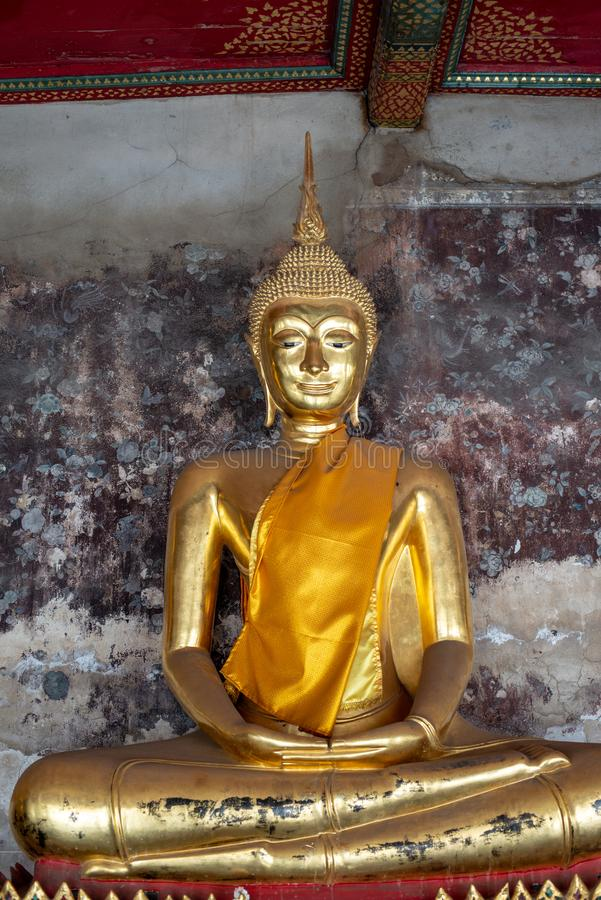 Golden Buddha images in Wat Suthat Thepphawararam the royal temple of the first grade in Bangkok. Construction of the temple was completed in 1847. Bangkok stock photography
