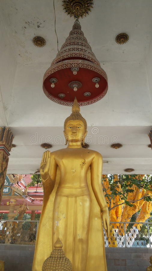 Golden Buddha in a standing posture stock images