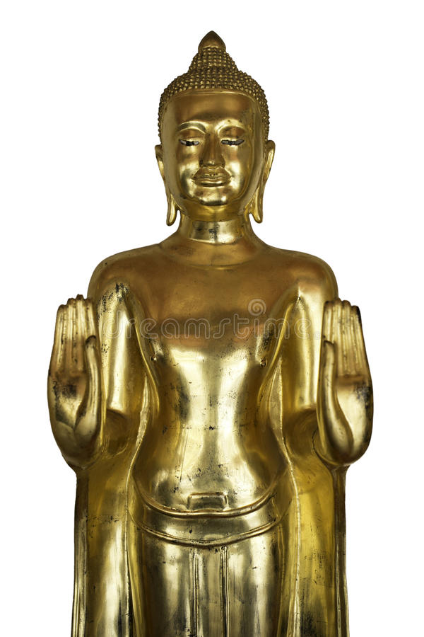 Golden Buddha Standing and rise two hand. royalty free stock photos