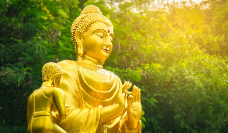 Golden Buddha statue. On natural background stock photos