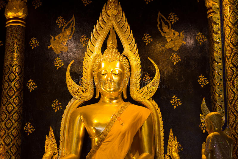 Golden buddha statue image in Phisanulok stock images