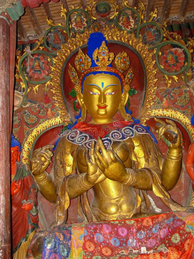 Golden buddha statue in Palcho Monastery, Tibet, China. Golden buddha statue in the buddhist Palcho Monastery, Tibet, China royalty free stock photo