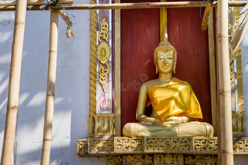Download Golden Buddha Statue In Under Construction Temple At Wat Somdej Stock Photo - Image: 83703115