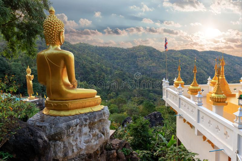 Golden Buddha statue view point royalty free stock photography