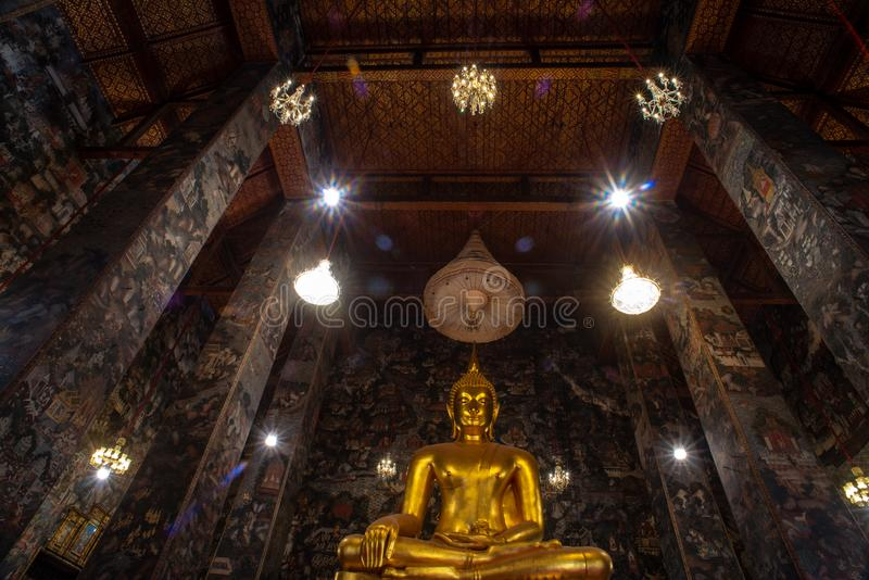 Golden Buddha statue in Wat Suthat Thepphawararam the royal temple of the first grade in Bangkok. Construction of the temple was completed in 1847. Bangkok stock photos